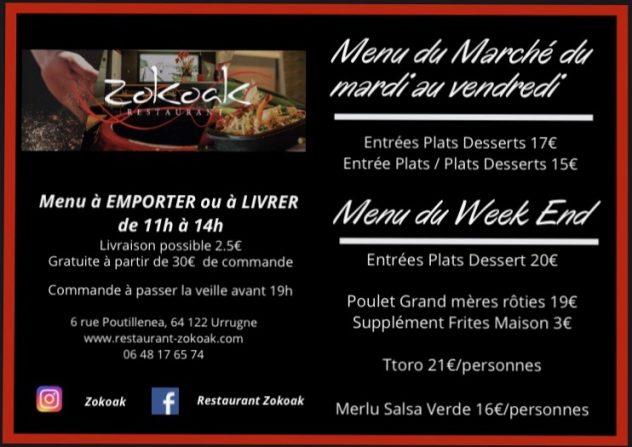 Menu Spécial Confinement - Avril 2020   Restaurant Zokoak
